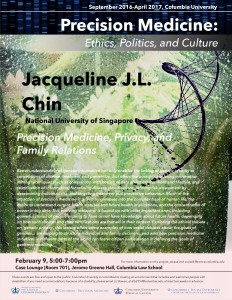 "Jacqueline L. Chin Discusses ""Precision Medicine, Privacy, and Family Relations"" on February 9"