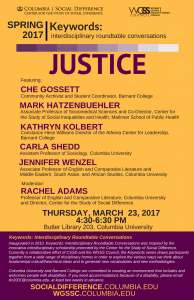 DISCUSSION: Keyword: Justice–Interdisciplinary Conversation on Thursday, March 23!